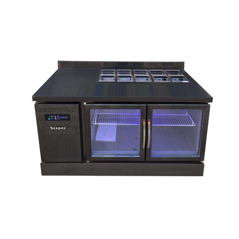 黑钛不锈钢沙拉台开孔冰箱